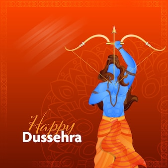 Hindu-mythologisches rama, das goldenen bogen und pfeil auf rotem mandala-muster-hintergrund für glückliche dussehra-feier hält.