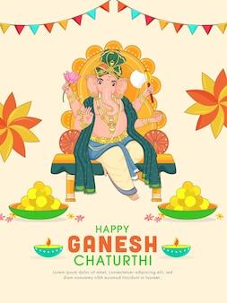 Hinduistische mythologie lord ganesha auf thronidol mit laddu-platten und öllampe (diya)