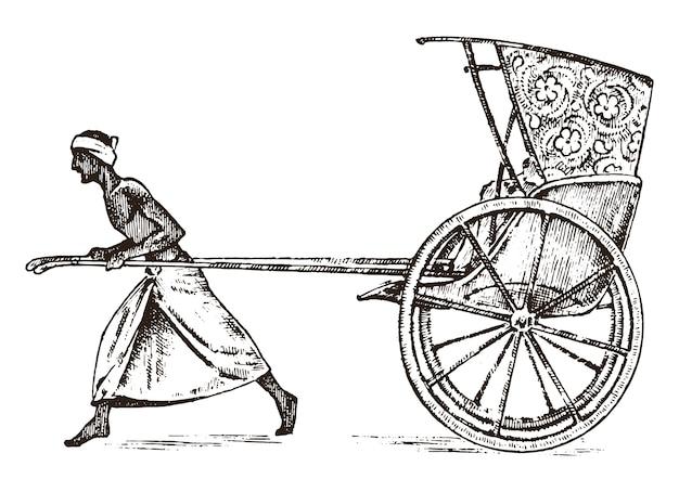 Hinduistischer bauer mit rikscha, der mit einem karren für passagiere in indien arbeitet. gravierte hand gezeichnet in der alten skizze, weinlesestil. kolkata.