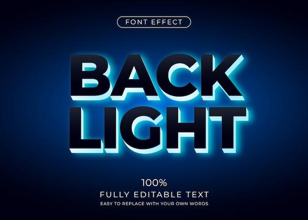 Hinterbeleuchtungstext-effekt. bearbeitbarer schriftstil