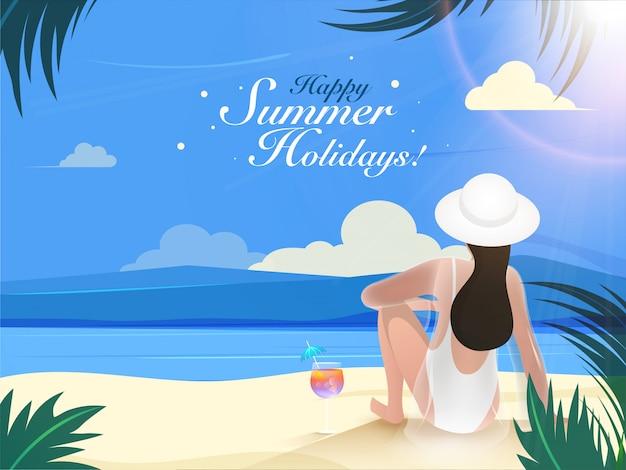 Hintere ansicht der jungen frau sitzend auf strandhintergrund für glückliche sommerferien