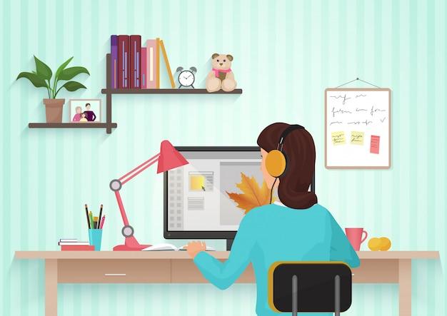 Hintere ansicht des weiblichen designerarbeitsplatzes