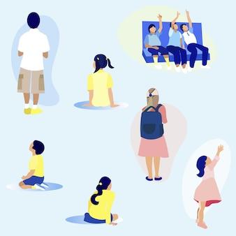 Hintere ansicht-männliche und weibliche kinder, jungen zeigen oben.