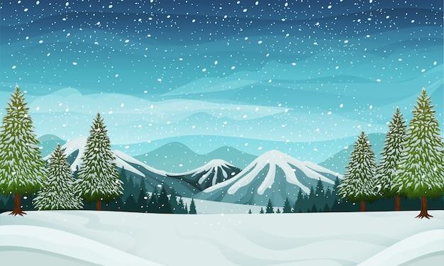 Hintere illustration der verschneiten winterlandschaft mit kiefern- oder fichtenbaum- und bergkonzept