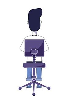 Hinterer mann, der im stuhl mit zufälliger kleidung sitzt