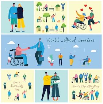 Hintergründe mit behinderten menschen, jungen invaliden und männern und frauen, die helfen. welt ohne barrieren. flache zeichentrickfiguren.