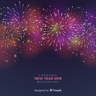 Hintergrund 2019 des neuen jahres der feuerwerke