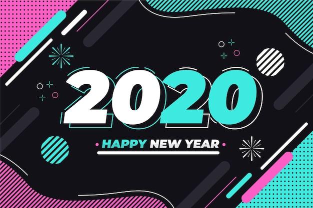 Hintergrund 2020 des neuen jahres im flachen design