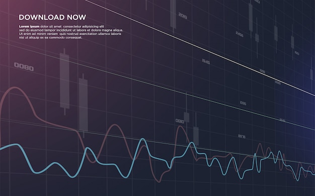 Hintergrund auf der börse, die mit einer illustration eines gebogenen balkendiagramms handelt