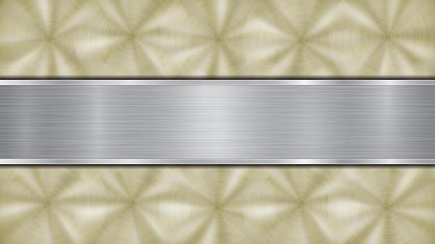 Hintergrund bestehend aus einer goldglänzenden metallischen oberfläche und einer horizontal polierten silberplatte mittig angeordnet, mit metallstruktur, blendungen und brünierten kanten