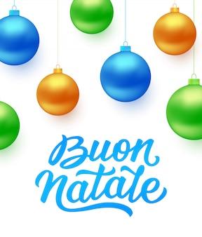 Hintergrund buon natale mit weihnachtsbällen