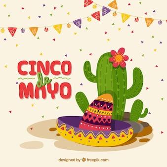 Hintergrund cinco des mayo mit kaktus