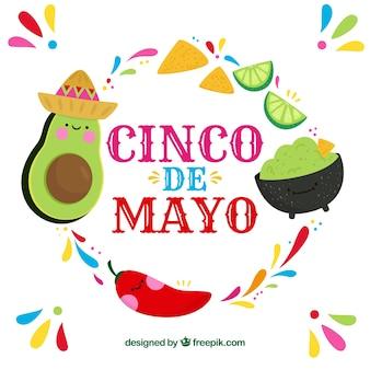 Hintergrund cinco des mayo mit mexikanischem lebensmittel