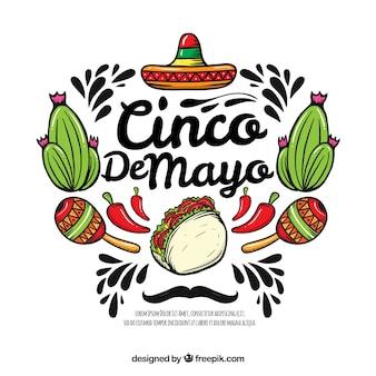 Hintergrund cinco des mayo mit mexikanischen elementen