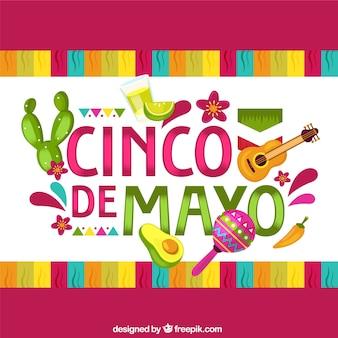 Hintergrund cinco des mayo mit traditionellen elementen in der flachen art