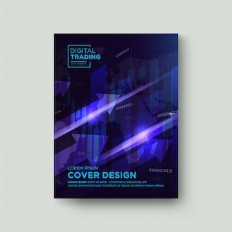 Hintergrund-cover-handel. mit illustrationen von leuchtenden pfeilen aufsteigen.