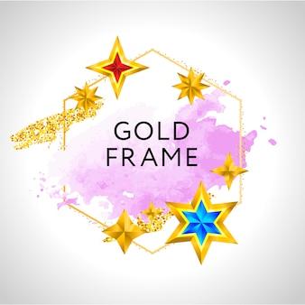 Hintergrund der abstrakten rahmenfeier mit goldenen sternen des rosa aquarells und platz für text.