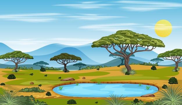 Hintergrund der afrikanischen waldlandschaft