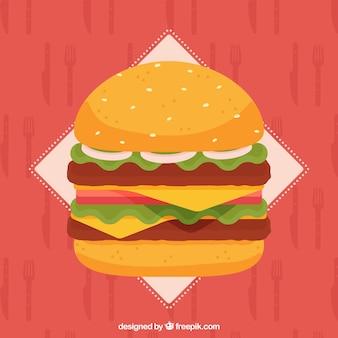 Hintergrund der appetitlichen burger in flachen design