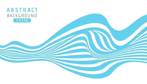 Hintergrund der blauen streifen der welle mit papierschnittart