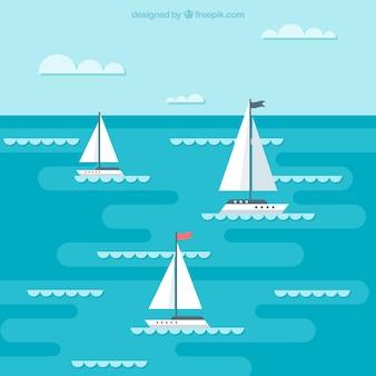 Hintergrund der boote segeln in flachen design