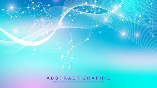 Hintergrund der bunten moleküle. dna-helix, dna-strang, dna-test. molekül oder atom, neuronen. abstrakte struktur für wissenschaftlichen oder medizinischen hintergrund, banner. wissenschaftliche molekulare vektorillustration.