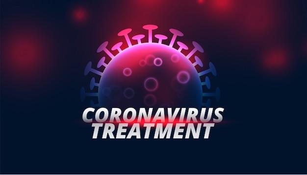 Hintergrund der coronavirus-behandlung mit glühender viruszelle