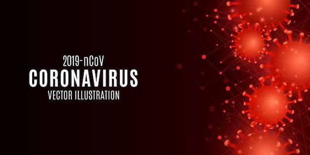 Hintergrund der coronavirus-infektion. covid 19 banner für medizinisches design. pathogener organismus im blut. illustration.