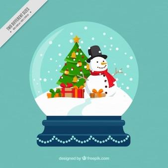 Hintergrund der dekorativen schneekugeln mit schneemann und geschenke