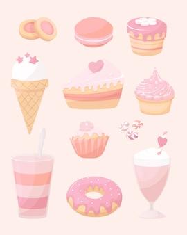 Hintergrund der desserts, süße gekritzelikone