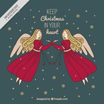 Hintergrund der elegante engel mit weihnachtsbotschaft