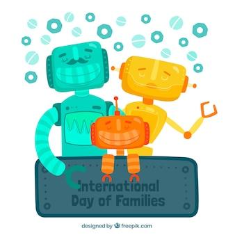 Hintergrund der farbigen roboter für den internationalen tag der familien