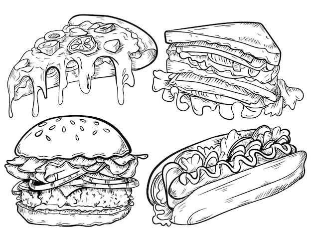 Hintergrund der fast-food-liniensammlung