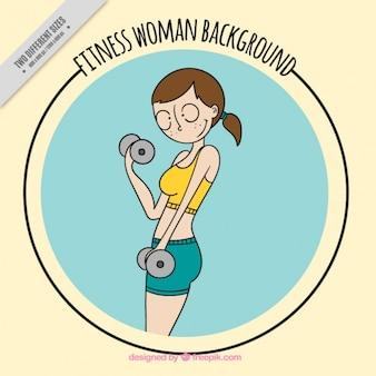 Hintergrund der fitness frau skizze