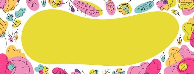 Hintergrund der floralen cover-webseite mit neongrünem fleck. blumenbeet mit hellen neonfarben. weißer hintergrund