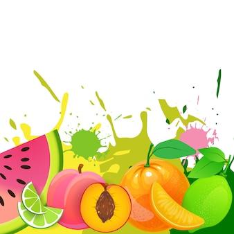 Hintergrund der frischen früchte über farben-spritzen-organischem und gesundem lebensmittel-natürlichem landwirtschaftlichem produkt-konzept