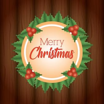 Hintergrund der frohen weihnachten mit kranzblättern