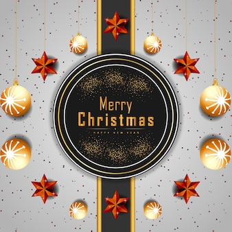 Hintergrund der frohen weihnachten mit leuchtenden punkten oder goldenen sternen und blasenvektor Premium Vektoren