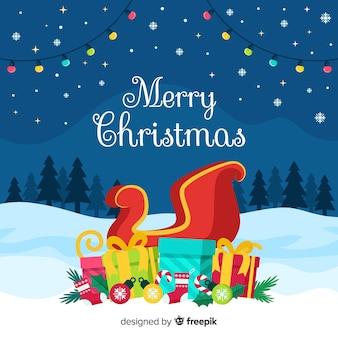 Hintergrund der frohen weihnachten mit wagen im flachen design