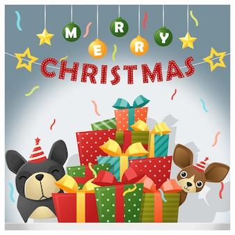 Hintergrund der frohen weihnachten und des guten rutsch ins neue jahr mit hunden