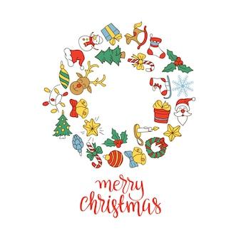 Hintergrund der frohen weihnachten und des guten rutsch ins neue jahr mit ikonen.