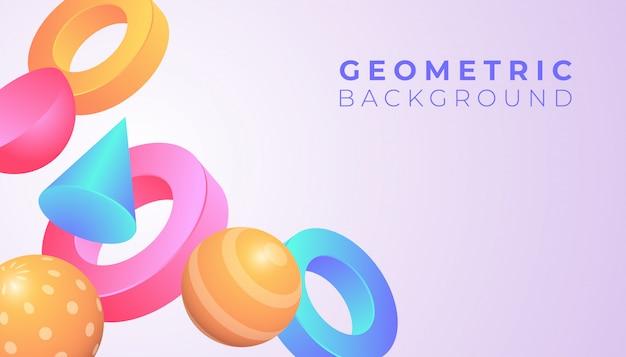 Hintergrund der geometrischen formen 3d mit pastellsteigungsfarbe