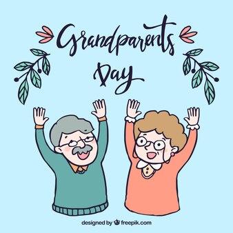 Hintergrund der glücklichen hand gezeichneten großeltern