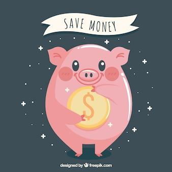 Hintergrund der glücklichen sparschwein mit einer münze