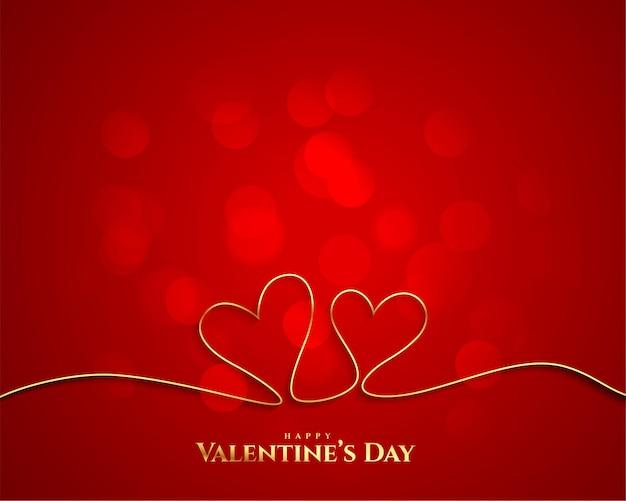 Hintergrund der goldenen linie des valentinstagherzens