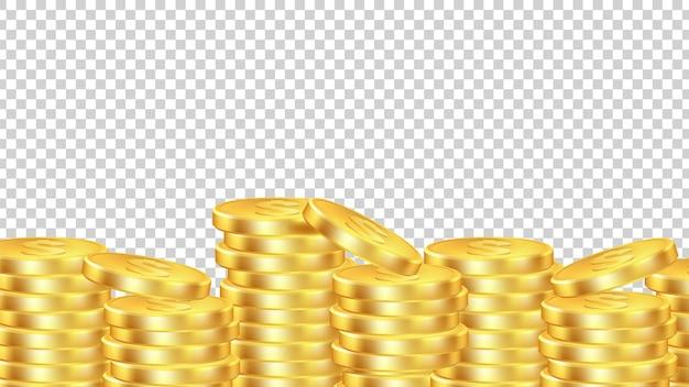 Hintergrund der goldenen münzen. isoliertes realistisches geld. münzstapel transparentes banner.