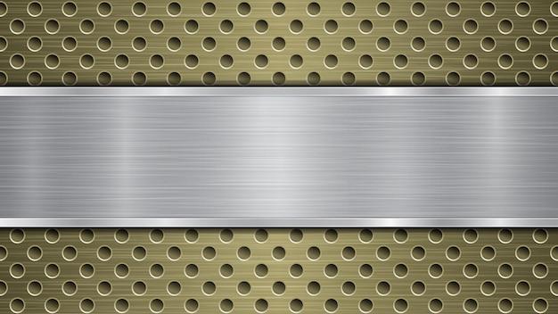 Hintergrund der goldenen perforierten metalloberfläche mit löchern und silberner horizontaler polierter platte mit metallstruktur, blendungen und glänzenden kanten