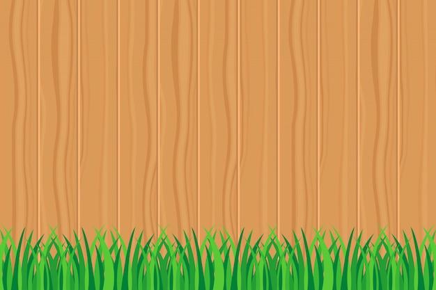 Hintergrund der grünen gras- und zaunillustration