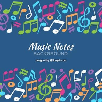 Hintergrund der hand gemalt bunte musikalische notizen