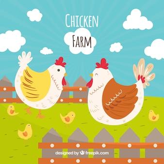 Hintergrund der hand gezeichneten hühner auf dem bauernhof